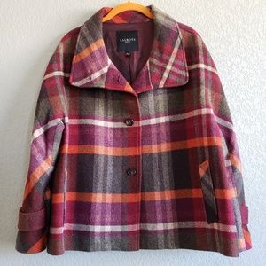 Talbots | Pumpkin Spice Plaid Swing Wool Coat EUC